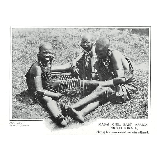 1910 Masai Girl East Africa Having Her Ornaments Of Iron Wire Adjusted