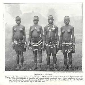 1910 Mashona Women Wearing Leather Skirts, Brass Bangles