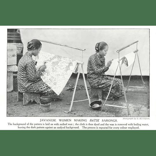 1910 Javanese Women Making Batik Sarongs
