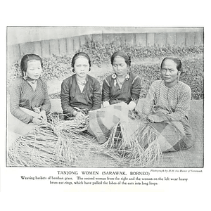1910 Tanjong Women From Sarawak Borneo Weaving Baskets From Grass