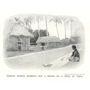 1910 Women In Tonga Marking Out A Design On A Piece Of Tapa