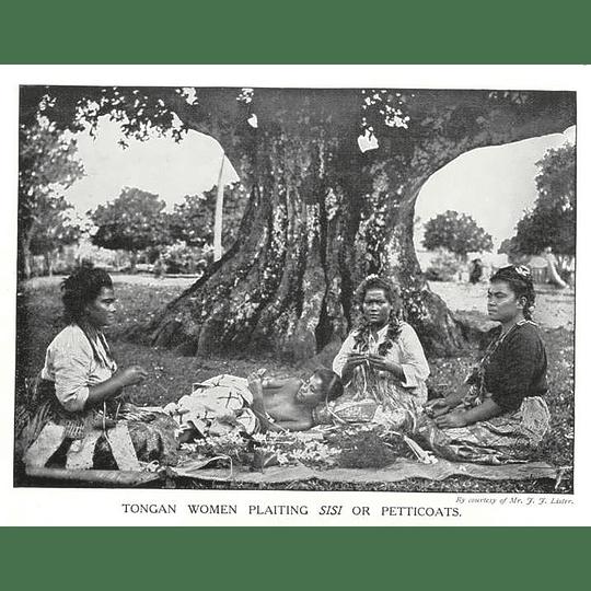 1910 Tonga Women Plaiting Petticoats