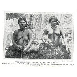 1910 Two Girls From North End Of Uap In The Carolines, Carrying Betel Baskets