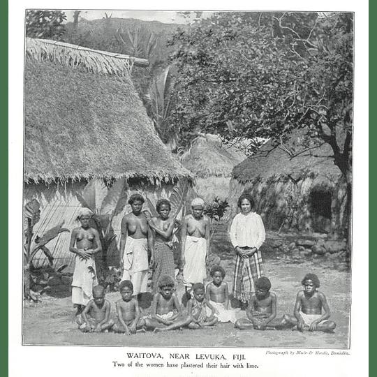1910 Waitova Near Levuka In Fiji To Women With Lime Plaster Hair