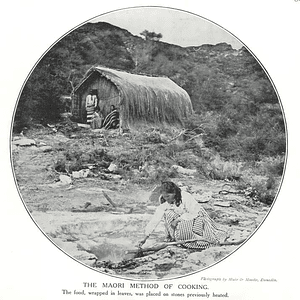 1910 Maori Method Of Cooking, Leaves, Hot Stones