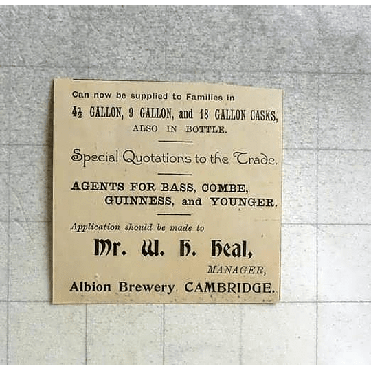 1900 Mr Wh Heal, Manager Albion Brewery Cambridge