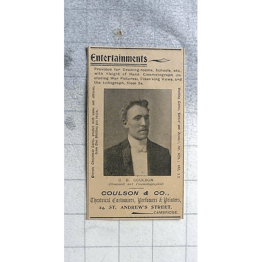 1900 Coulson And Co-, Theatrical Costumier Perfumer Printers Cambridge