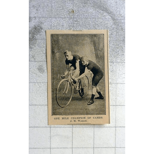 1900 The 1 Mile Cycle Champion Of Cambridgeshire, Jm Warren