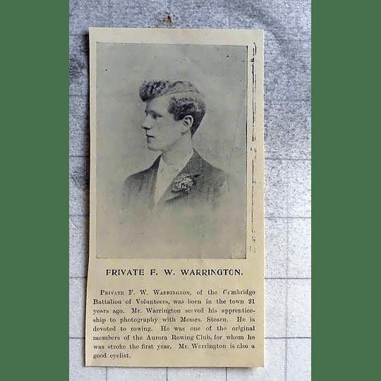 1900 Private Fw Warrington Cambridge Battalion Of Volunteers