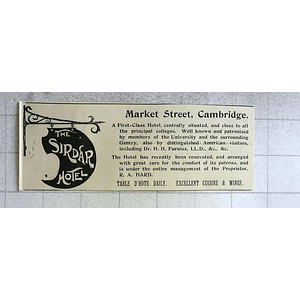 1900 The Sirdar Hotel Market Street Cambridge, Excellent Cuisine, R A Hard