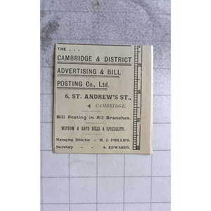 1900 Cambridge And District Advertising And Bill Posting Company St Andrew St