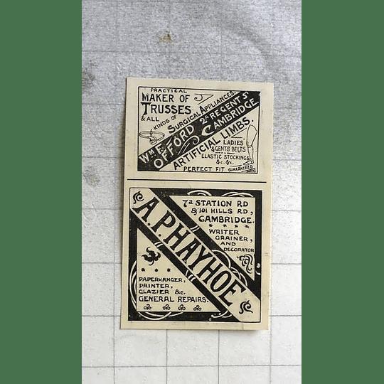 1900 Ap Hayhoe Paper Hanger, Painter, Station Road Cambridge