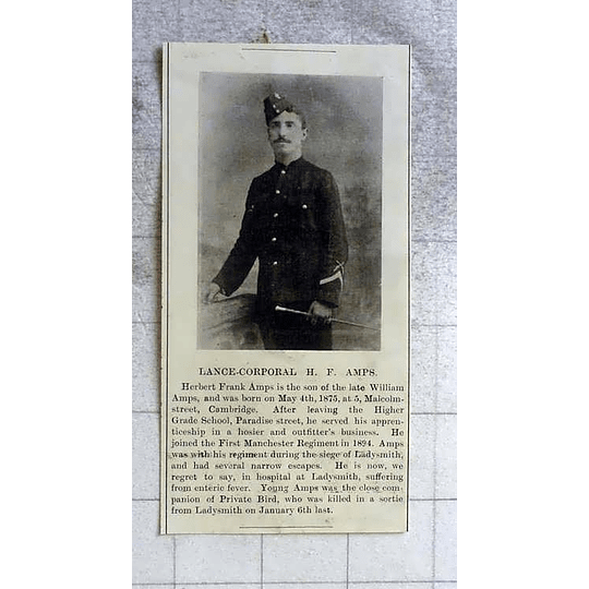 1900 Lance Corporal Hf Amps, Malcolm Street Cambridge, First Manchester Regiment