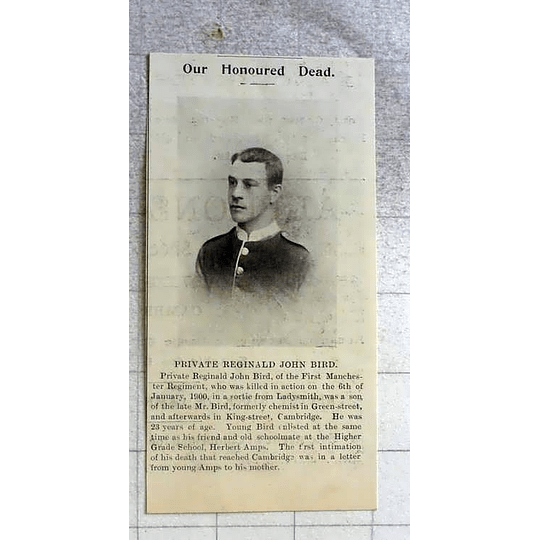 1900 Private Reginald John Bird 1st Manchester Regiment, Cambridge Chemist