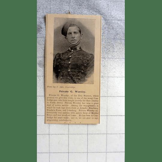1900 Private G Worsley 10th Hussars, Cambridge Man