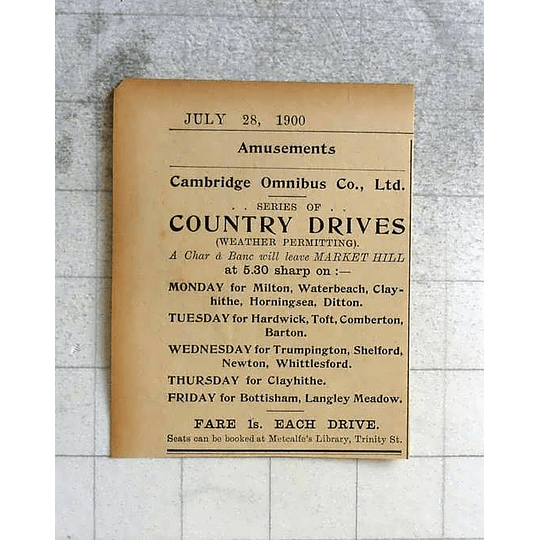 1900 Cambridge Omnibus Company, Country Drives One Shilling