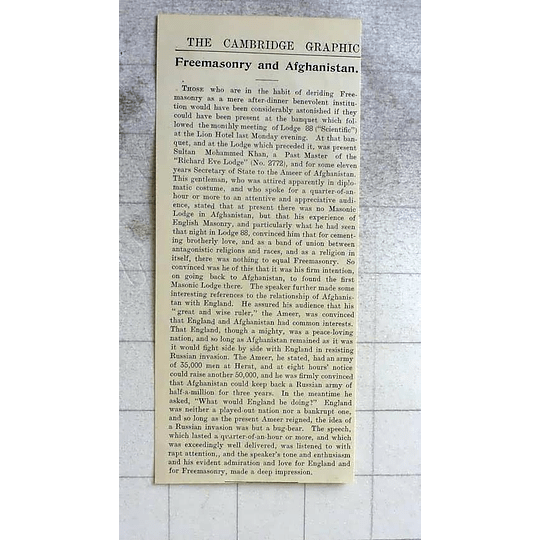 1900 Freemasonry Influences In Afghanistan, Sultan Muhammad Khan