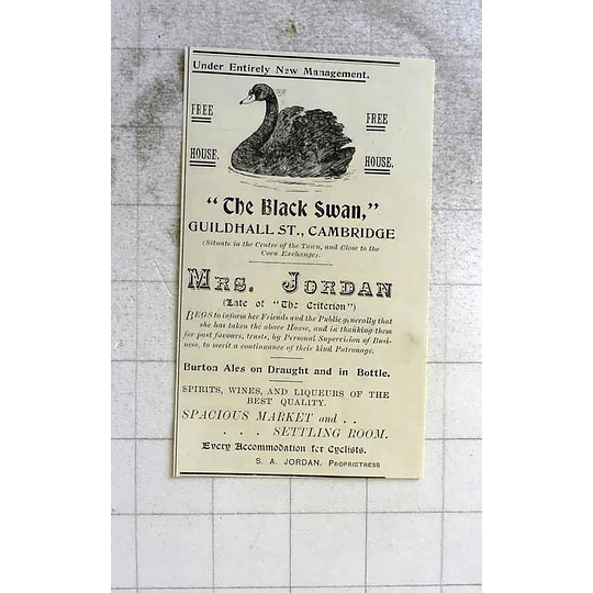1900 Mrs Jordan Now Managing The Black Swan, Guildhall Street Cambridge