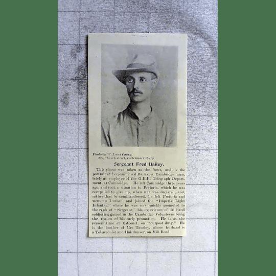 1900 Sgt Fred Bailey Ger Telegraph Department Cambridge