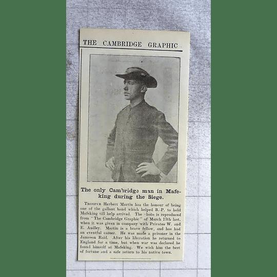 1900 Trooper Herbert Martin Helped Bp Hold Mafeking