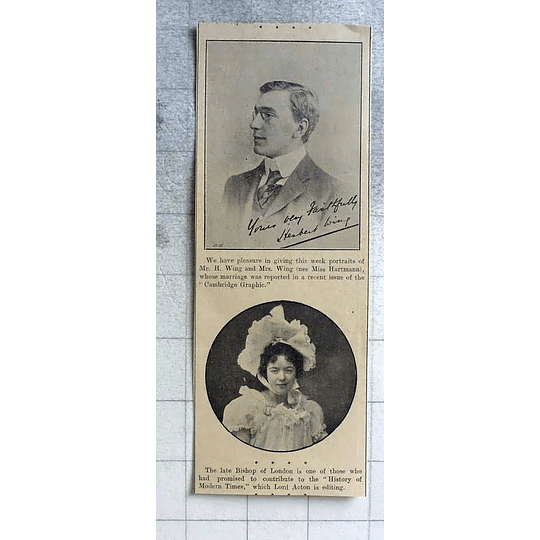 1900 Mr H Wing Marries Miss Hartmann