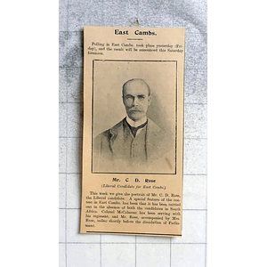 1900 Mr Cd Rose Liberal Candidate For East Cambridgeshire