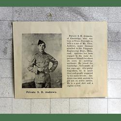 1900 Private Sb Andrews Cambridge Volunteers, Born True Row