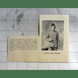 1900 Private John Measures, Messrs Whitmore, Cambridge Battalion Of Volunteers