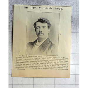 1900 Rev R Harris Lloyd Minister Hobson Street Wesleyan Church Cambridge