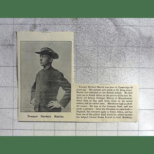 1900 Trooper Herbert Martin, King Street Cambridge, Helping To Hold Mafeking