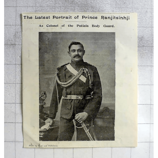 1900 Prince Ranjitsinji As Col Of Patiala Bodyguard