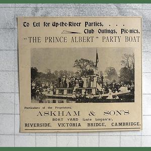 1900 The Prince Albert Party Boat, Askham And Sons Victoria Bridge Cambridge