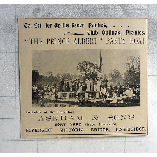 1900 The Prince Albert Party Boat, Askham And Sons Victoria Bridge Cambridge