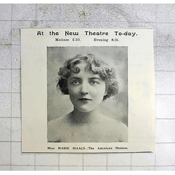 1900 Miss Marie Isaacs, American Heiress, At The New Theatre Cambridge