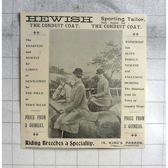 1900 Hewish Sporting Tailor, Kings Parade Cambridge