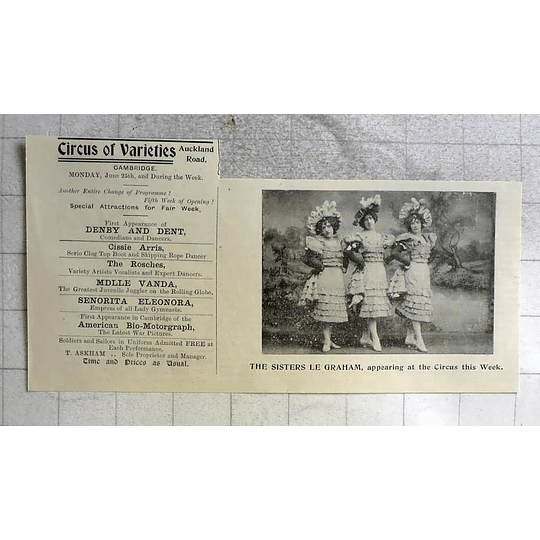 1900 The Sisters Le Graham Appearing At Circus Of Varieties Cambridge