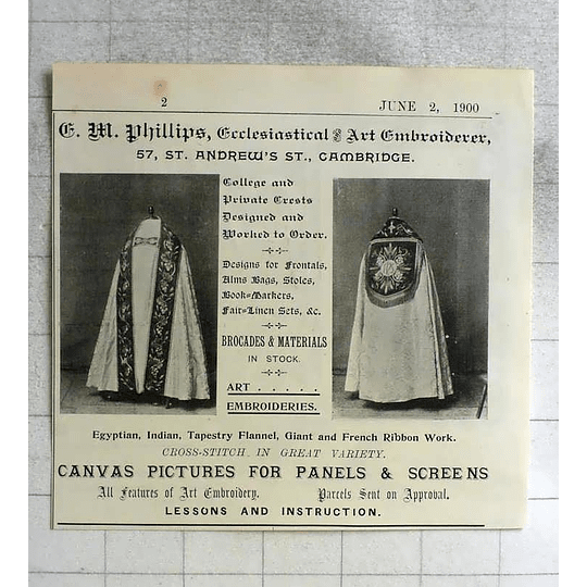 1900 Gm Phillips, Ecclesiastical Embroiderer St Andrew Street Cambridge
