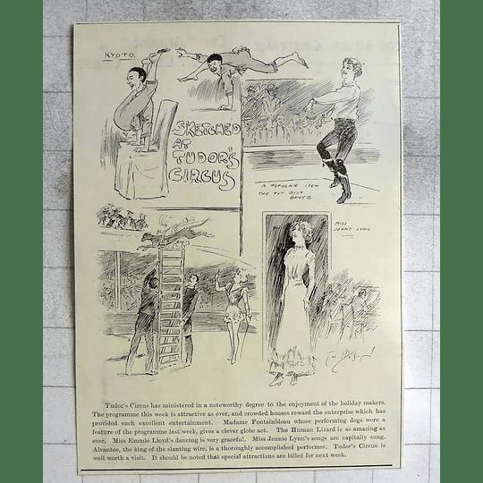 1900 Tudors Circus, Cambridge, Mme Fontainebleau Performing Dogs, Human Lizard
