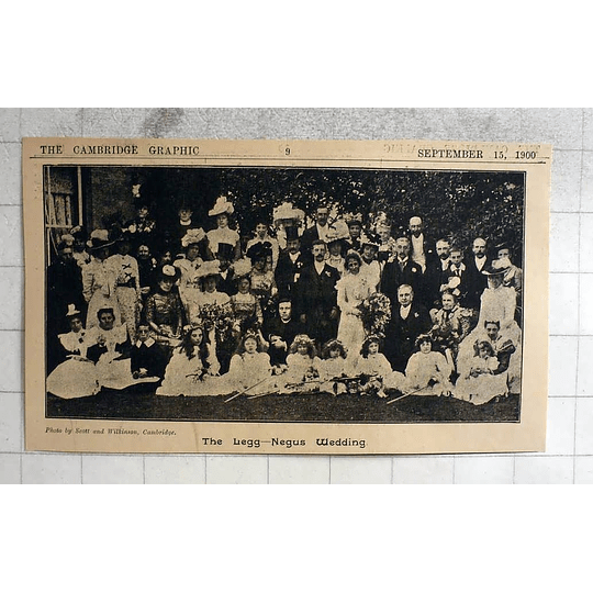 1900 The Legg -negus Wedding, Cambridge, Scott And Wilkinson Photo