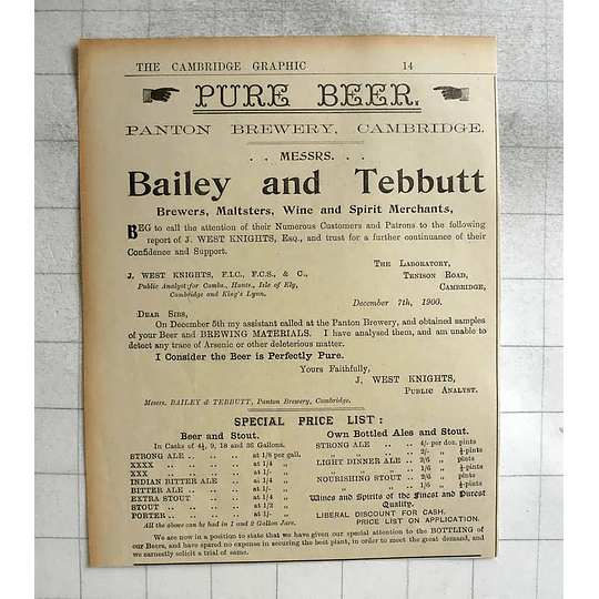 1900 Bailey And Tebbutt Brewers Maltsters, Panton Brewery Cambridge