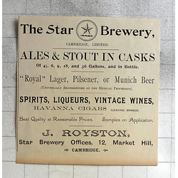 1900 The Star Brewery, J Royston, 12 Market Hill Cambridge