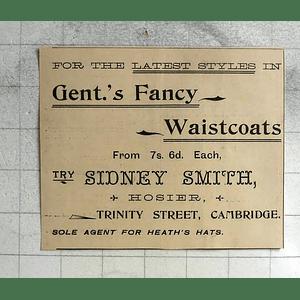 1900 Sidney Smith, Hosier, Trinity Street Cambridge