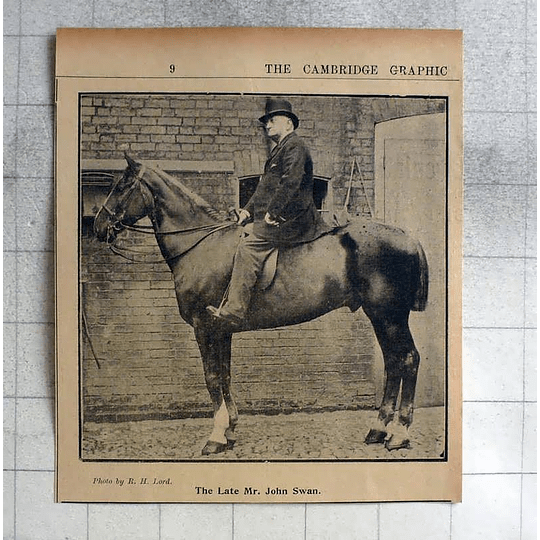 1900 The Late Mr John Swan, Astride Horse, Photo By Rh Lord, Cambridge