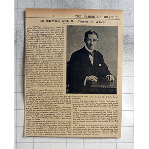 1900 An Interview With Mr Charles R Walenn, Cambridge Theatre
