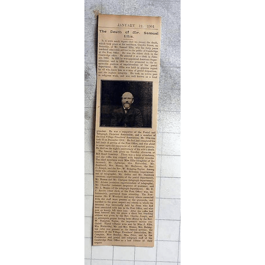 1900 Death Of Mr Samuel Ellis, Cambridge Post Office