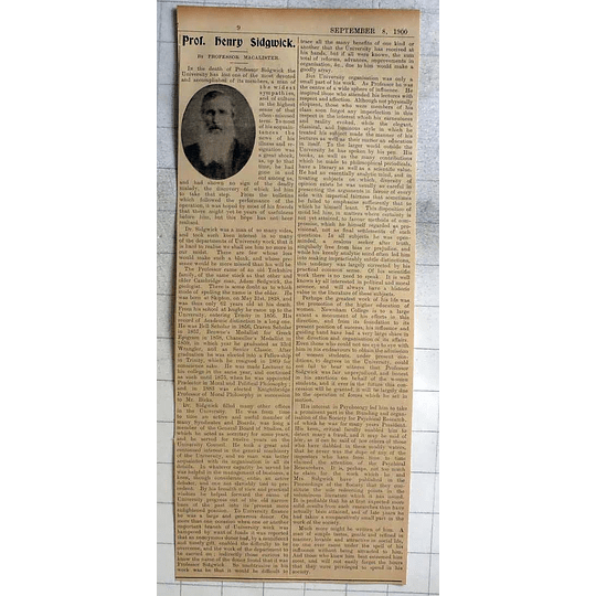 1900 Obituary Of Prof Henry Sidgwick By Prof Macalister