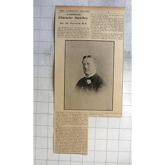 1900 Cambridge Character Sketch Of Mr W Durnford M A