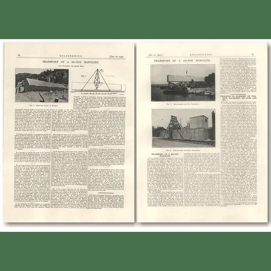 1927 Transport Of A 260 Ton Monolitjh Vigeland Oslo