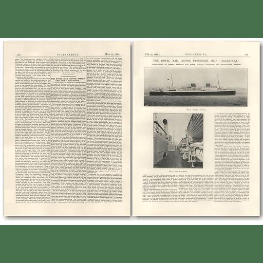 1927 Royal Mail Motor Passenger Ship Alcantara Harland Wolff