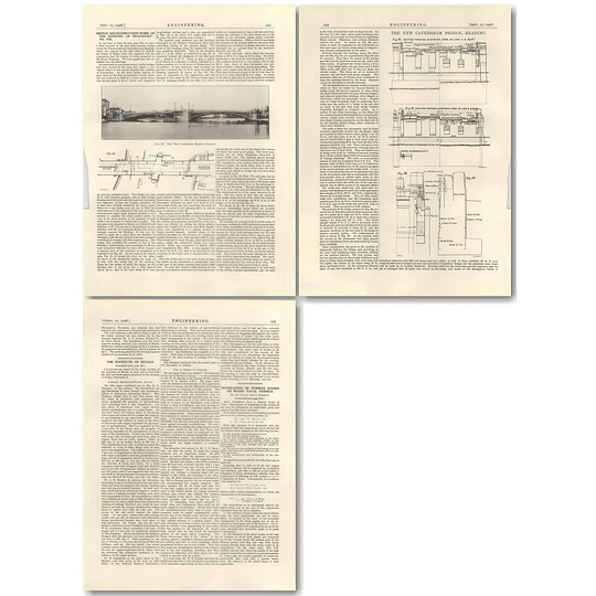 1926 Data And Drawings Reconstruction Of Bridge Between Caversham And Reading